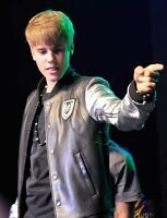 Justin Bieber Silver sleeves Real Leather Jacket men Bomber Varsity teddy