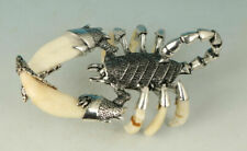 Cool Copper Tibet Silver Inlay Tooth Statue Decoration Scorpion Statue Figure