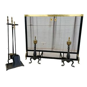 Complete Vintage Brass Fireplace Set