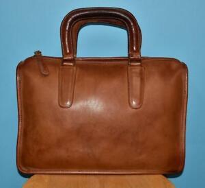 Vintage Classic COACH Brown Leather Briefcase Portfolio Wristlet Handbag NYC USA