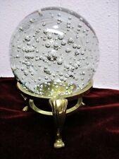 Bubble Sphere Paper Weight Art Sculpture Brass Stand Clear Globe