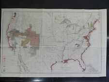 Antique Map United States 1883 US Geological Survey Litho by Julius Bien Co NY
