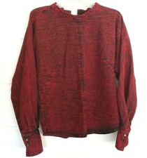 Rachel Comey Womens Distressed Blouse Purple Back Buttoned Long Sleeve Cotton S