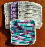 Lot of 4 New Lavender/Blue/Green Handmade-Crocheted 100% Cotton Dish/Wash Cloths