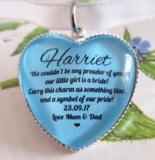 Bridal Bouquet Charm Something Blue  Gift From Mother & Father Of The Bride