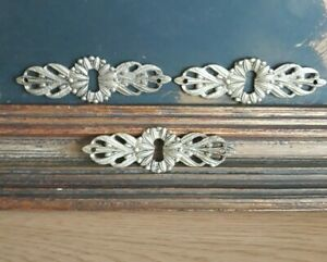 3 Vintage Solid Bronze Keyhole Covers Escutcheons