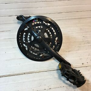 1990s Complete 3 Ring Crankset Black VP Pedals Prowheel Index Sq Taper BB MTB