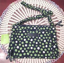 Vera Bradley LUCKY DOTS Little Hipster Crossbody Bag Organize Green Navy New Tag