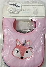 Hudson Baby Unisex Drooler Bibs With Fiber Filling One Size Girl Fox 10 -pack
