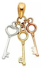 pendant Key to my heart 14K Tri yellow white rose solid real Gold