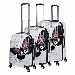 White Butterfly 4 Wheel Hard Shell Suitcase PC Luggage Trolley Case in 3 Sizes