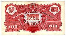 Pologne POLAND Billet 100 ZLOTYCH 1944 P117 SERIE AA RARE  BON ETAT