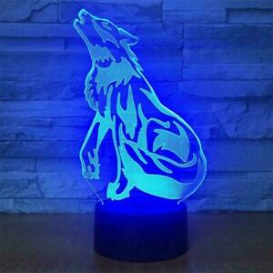 Sitting Wolf Animal 3D Lamp LED Night Light Touch Table Brithday Gifts 7 Color