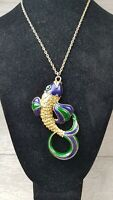 Vintage Sphinx Enamel textured Fish Statement necklace