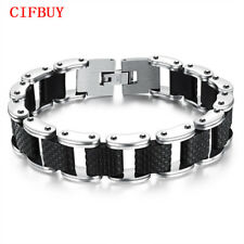 Genuine Sillcone Men's Bracelet Stainless Steel Chain Casual Double Safety Clasp