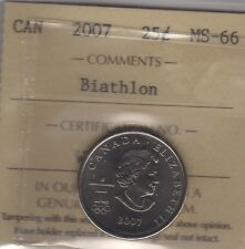 2007 Canada BIATHLON Twenty-Five Cents Coin. Quarter. ICCS MS-66