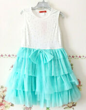 FunkyBerry White Mint Green Blue Sparkly Studs Tulle Dress layered Tiered Bow 7