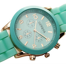 elegantes verdes ginebra deporte de la moda las mujeres del reloj de cuarzo