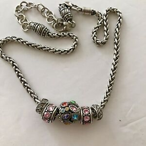 """Brighton Barrel ABC add your favorite Bead / Charm Necklace WITH 5 BEADS! 16-18"""""""