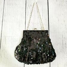 Nine West Womens Black Sequin Evening Bag NWOT