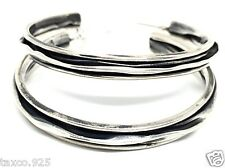 Deco Textured Hoop Earrings Mexico Taxco Mexican 925 Sterling Silver