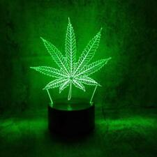 Weed Leaf Plant 3D 7 Colour Changing LED Night Light Lamp New - FAST DISPATCH !
