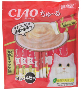 CIAO CHURU For Cat MAGURO Tuna & Sea Food Mix 14g × 45P Japan import NEW