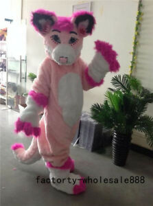 Sexy Long Fur Pink Husky Mascot Costume suit Fox Dog Birthday party Cosplay Suit