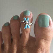 Sterling Silver Synthetic Turquoise Dragonfly Ring, Toe Ring