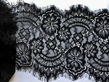 "3 Yards Black Floral Embroidered Eyelash Mesh Lace Trim /8.5"" in Width"