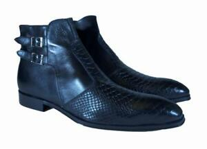 Black Embossed Crocodile Handmade Men Italian Leather Dress Boot/Size 43,44