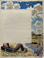 Karl Adser 1912-1995 Junger Mann raucht Pfeife auf Sommerwiese am Fluss