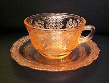Pink Normandie Depression Glass Cup and Saucer Pairs (3)
