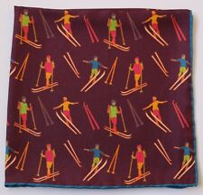 Plum / Aubergine Silk Hand rolled pocket square with Skiers Skiing 30cm square