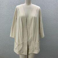 D & Co. Cardigan Sweater Women's Plus 1X Tan Knit Open Front 3/4 Sleeve Pockets