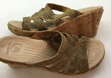 """Crocs A Leigh  3"""" Wedge Woman's Size 10 Cork Brown Reptile"""