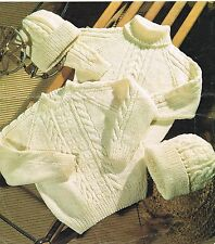 KNITTING PATTERN JUMPER SWEATER POLO NECK & HAT ARAN CHILD, INFANT. CABLE.