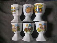 6 ceramic fun childrens egg cups Turtles Forever Friends Tweenies Bunnies