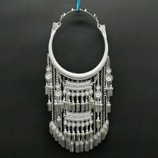 silver long tassels necklace 1piece New stylish original exaggerate hand Miao