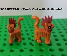 New Lego Cat SCARFIELD Mohawk Orange Striped Kitty Bandaids Spikey Spiked Collar