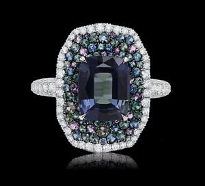 Cushion Brazilian Alexandrite Blue Sapphires & Multi Stone 925 SS Fashion Ring.