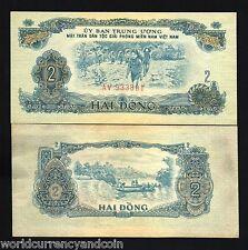 VIETNAM SOUTH 2 DONG PR5 1963 BOAT FISH NET AUNC GIRL FARM CURRENCY MONEY BILL