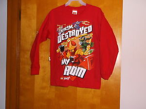 """BRAND NEW...""""LEGO""""  BRIGHT RED  """"NINJAS DESTROYED"""" BOY'S PULLOVER SHIRT"""