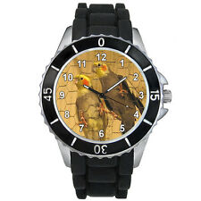 Cockatiel Birds Mens Ladies Fashion Black Jelly Silicone Band Wrist Watch S1299E