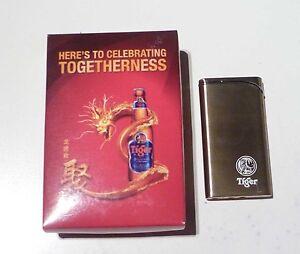 TIGER BEER Gold Colour Wind Proof LIGHTER Celebrating Togetherness SINGAPORE Box
