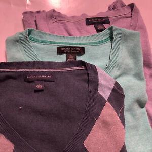 (Lot of 3) Banana Republic Mens Size Large Sweaters Argyle Mint Purple V Neck
