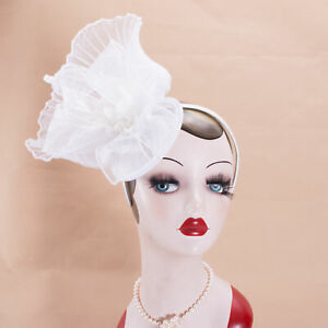 Womens White Sinamay Fascinator Kentucky Derby Headpiece Wedding Flower T334