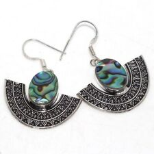 """Abalone Shell 925 Sterling Silver Plated Earrings 1.8"""" Special Gift GW"""