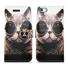 for Apple iPhone 5c Leather Wallet Book Opening Style Flip Stand Case Cover Cat With Glasses - Shades Pussycat Kitten Bobcat