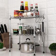 Küchenregal Mikrowellenhalter Gewürzregal Stahl 2 Ablagen Mit 4 Haken Ständer DE